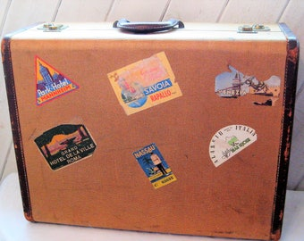 Antique large suitcase, vintage leather luggage, 1920s 30s, train case, Yale, made in USA