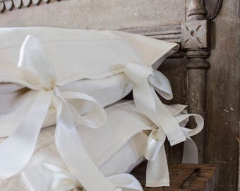French Linen Bed Pillows with side-ties
