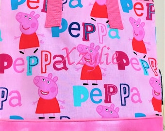 Peppa the Pig Child Tote / School Tote / Book Travel Bag / Overnight Bag / Embroidered with Childs name