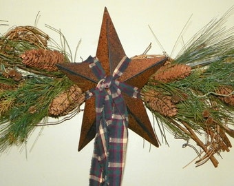 """Pine Swag 32"""" Long with a 12 Inch Folk Art Metal Star, Antiqued Long Star with Pine, Pinecones and Natural Pods, Door Arch, Mantel, Windows"""