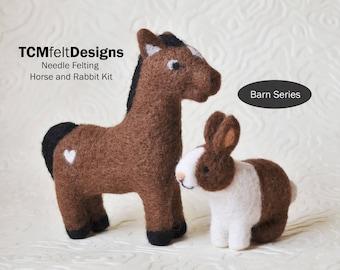 Needle Felting Kit, Horse and Rabbit Barn Series, Beginner/Intermediate Level Fiber Art Kit
