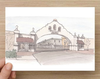 Ink and Watercolor Drawing of Arch in Lodi, California - Wine Country, CCR, Central Valley, Sketch, Art, Pen and Ink, 5x7, 8x10
