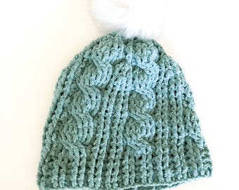 Teal age 3- adult crichet pom hat RTS