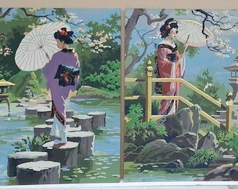 Vintage Pair PBN Geisha Asian Girls 20x16 paintings Japanese women unframed American MCM amatuer folkart kimono parasol garden lily pond