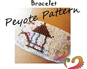 Oriental Peyote Pattern Bracelet - For Personal Use Only PDF Pattern - Japanese Garden Peyote Pattern , flowers huse cuff delica bracelet