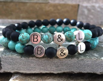 Partner bracelets bracelet set him and her initials letters name 6mm turquoise Onyx long-distance relationship