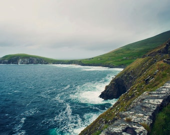 Ocean Photograph, Sea print, Irish Coastal Cliffs, Wilderness, Dingle Peninsula, Travel Photography, Ireland Photography