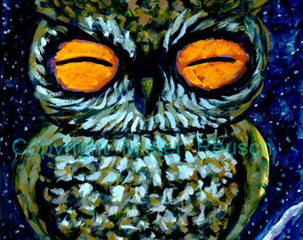 Sleepy Owl Signed Print by Mister Reusch
