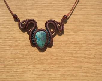 macrame necklace with a semi precious chrysocolla