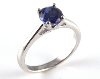 Diamond-Unique 1ct Sapphire Solitaire Engagement Ring Sterling Silver (108)September Birthstone