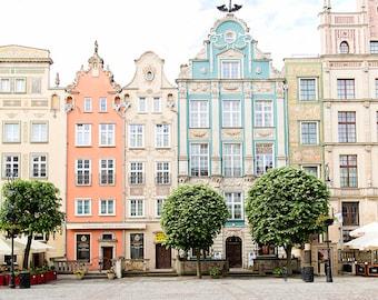 Poland Photography, Europe Travel, Gdansk Poland, City Art Print, Pastel Decor, Whimsical, Wanderlust Travel Art, Architecture, Housewarming