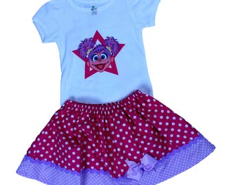 Girl Abby birthday outfit Girl outfit toddler Abby Elmo dress Baby Abby outfit girl clothes girl outfit Elmo Abby girl  baby toddler dress