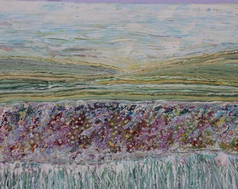 Wild Flowers on the Landscape one metre x 70cm paintings original artwork acrylic shimmering wall art large canvases. Emily Duchscherer Kirk