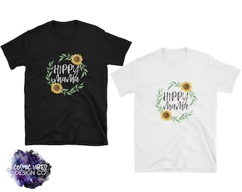 Hippy Mama Sunflower Short Sleeve Unisex T-Shirt - Cotton Jersey Knit Tee Shirt - Sunflower Floral Wreath - Natural Parenting Quote Shirt