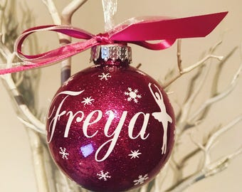 Ballet themed personalised Christmas Bauble
