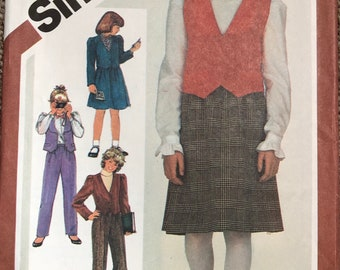 Vintage Simplicity 6090 Girl's Vest, Pants, Skirt and Jacket Sewing Pattern Circa 1983 Size 10 Uncut