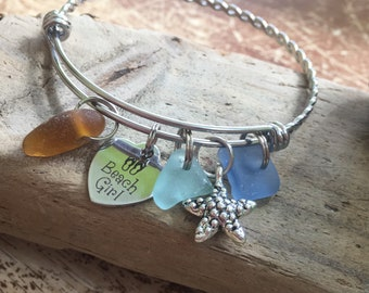Brown/aqua/cornflower blue seaglass, beach girl/starfish bangle
