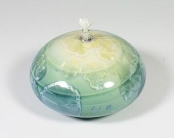 Sea Green Crystalline Glazed Oil Lamp