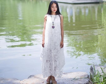 Womens Summer Loose Fitting Hollow Embroidered Sleeveless Cotton Long Dresses, Womens Loose Fitting Embroidered Jumper Dresses,White Dresses
