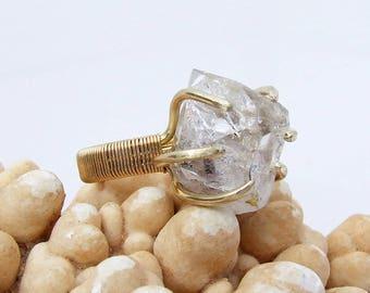 Herkimer Diamond Ring, raw quartz crystal, prong set