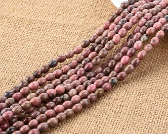 Pink Rhodonite Barrel Beads 6*8MM for DIY Jewelry Making