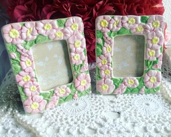 Set of 2 Shabby Chic Ceramic Frames, Flowers Frame, Cottage Chic ...