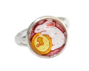 White Rabbit Lover Gift - Alice in Wonderland - Rabbit Ring - Adjustable Ring