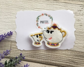 Feltie snapclip. Teacup and teapot spring hair accessories. Girls.