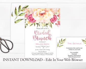 Pink Floral Bridal Shower Invitation Printable | Editable Template | INSTANT DOWNLOAD | Flower Bridal Brunch Invitation | Floral Invitation