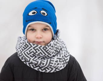 knit kids scarf - kids infinity scarf - toddler boy scarf - toddler girl scarf - knitted kid scarf - hand knit kids scarf - wool kids scarf