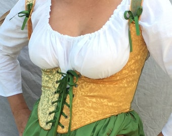 Renaissance Festival Wench Corset Bodice- 2 color harlequin laces front and back Ren Faire Costume, any colors you pick brocade or cotton