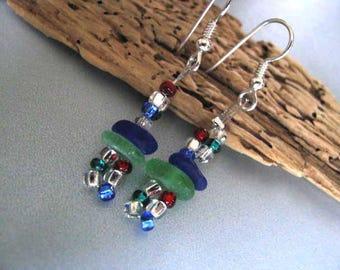 Genuine Beach Glass Dangle Earrings - Kelly Green and Cobalt Blue Sea Glass - Seed Beads and Sea Glass Earrings - Nautical Earrings