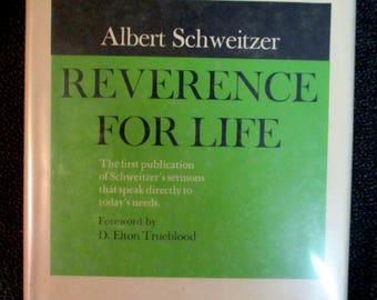 Albert Schweitzer REVERENCE FOR LIFE Sermons Hardcover Vintage book Christian books