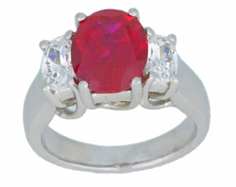 4 Ct Ruby & Cubic Zirconia Oval Ring .925 Sterling Silver Rhodium Finish