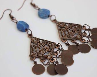 Lapis Lazuli Earrings.Dangle Earrings.Stone Earrings.Gemstone Earrings.Gift.Bohemian Jewelry.Hippie.Gypsy.Modern.Vintage.Spiritual.Blue