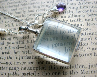 Glass Photo Locket Birthstone Necklace - Square Memory Family Tree - Gift Mother Wife Sister Daughter Best Friend Grandmother