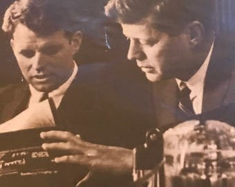Kennedy brothers Bobby and Johnny postcard early 1960s. Fantastic Condition.