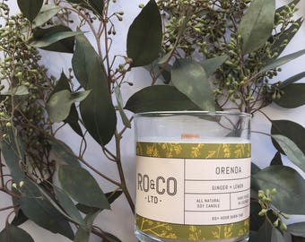 Ginger + Lemon Candle |Hand Poured|All Natural Soy Wax|Eco Friendly|Phthalate Free