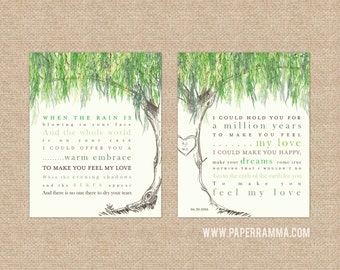 Willow Anniversary, Wedding Gift, Custom Wedding Art, Willow Tree Art,  Newlywed Gift