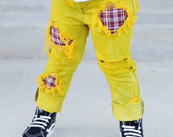 Cameron Hand Dyed Unisex jeans - baby , toddler , kids - red plaid patches  (Sizes 6m-12y) yellow jeans , unique denim , childrens pants