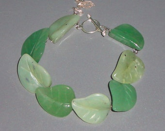 Green Aventurine Leaves Sterling Silver Bracelet
