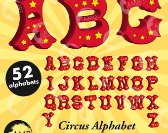Circus alphabet, Circus letters with stars, circus fonts, clipart, commercial use,  instant download AMB-1161
