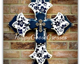 Wall CROSS - Wood Cross - Large - Navy & White Floral