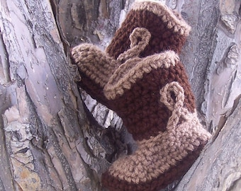 Crochet Baby Cowboy Boots, Cowboy Baby Boots, Newborn Baby Shower Gift, Tan and Brown Baby Boy Booties