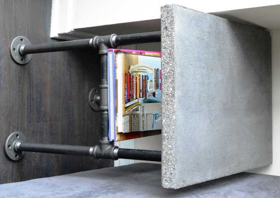 Industrial Concrete And Plumbing Pipe Side Table - Industrial concrete side table