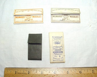 Vintage Needle packs. 2 Sharps needles advertising Milwards war packs. Another Milwards, never been opened. The black pack is rusted needles
