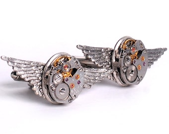 Steampunk Vintage Watch Movements and Angel Wings Cuff Links