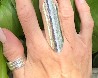 """Extra Wide Band Sterling Silver """"Edgy"""" Ring, Hammered"""