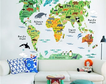 World map etsy kids world map wall sticker educational large removable decals nursery decor gift gumiabroncs Image collections