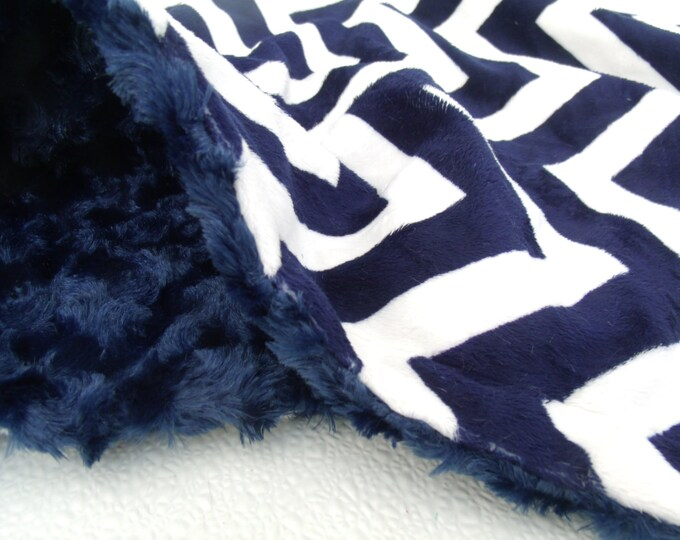 Navy Blue Chevron Minky baby Blanket - for toddlers and adults also